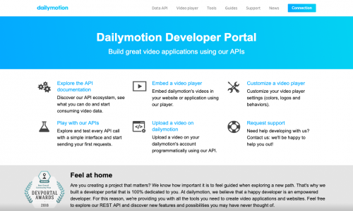 Dailymotion Developer Portal | DevPortal Awards