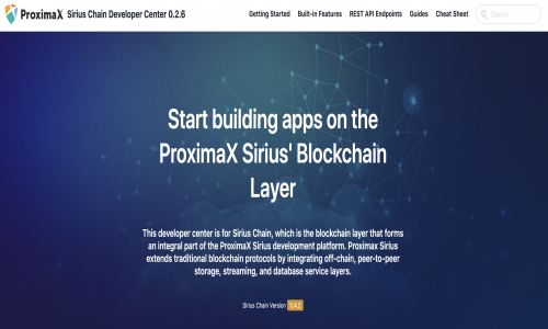 ProximaX Sirius Chain Developer Center hero screenshot