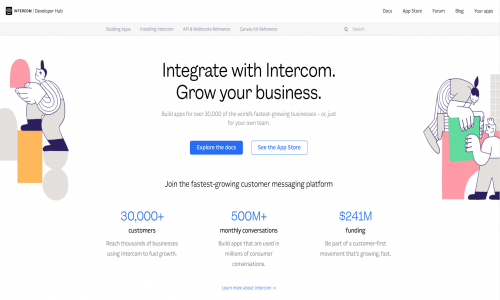 Intercom Developer Hub screenshot image